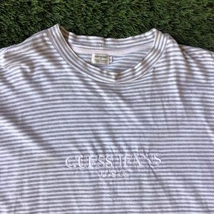 GUESS JEANS U.S.A. VINTAGE STRIPED WHITE GRAY TEE